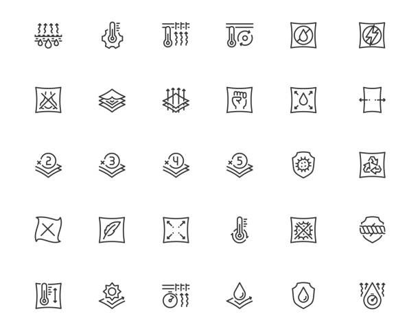 Properties of Fabrics and Clothes Icon Set in Outline Style Properties of Fabrics and Clothes Icon Set in Outline Style textile stock illustrations