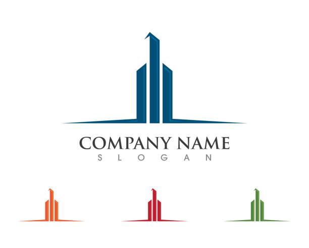 ilustraciones, imágenes clip art, dibujos animados e iconos de stock de propiedad y de construcción - logotipos de bienes inmuebles