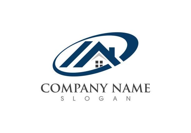 ilustraciones, imágenes clip art, dibujos animados e iconos de stock de vector de la propiedad y del logotipo de la construcción - logotipos de bienes inmuebles