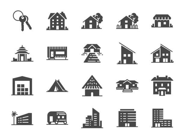 eigentum-icon-set. enthalten symbole als hotel, haus, heim, resort, stadt, unterkünfte, reisen und mehr. - villas stock-grafiken, -clipart, -cartoons und -symbole