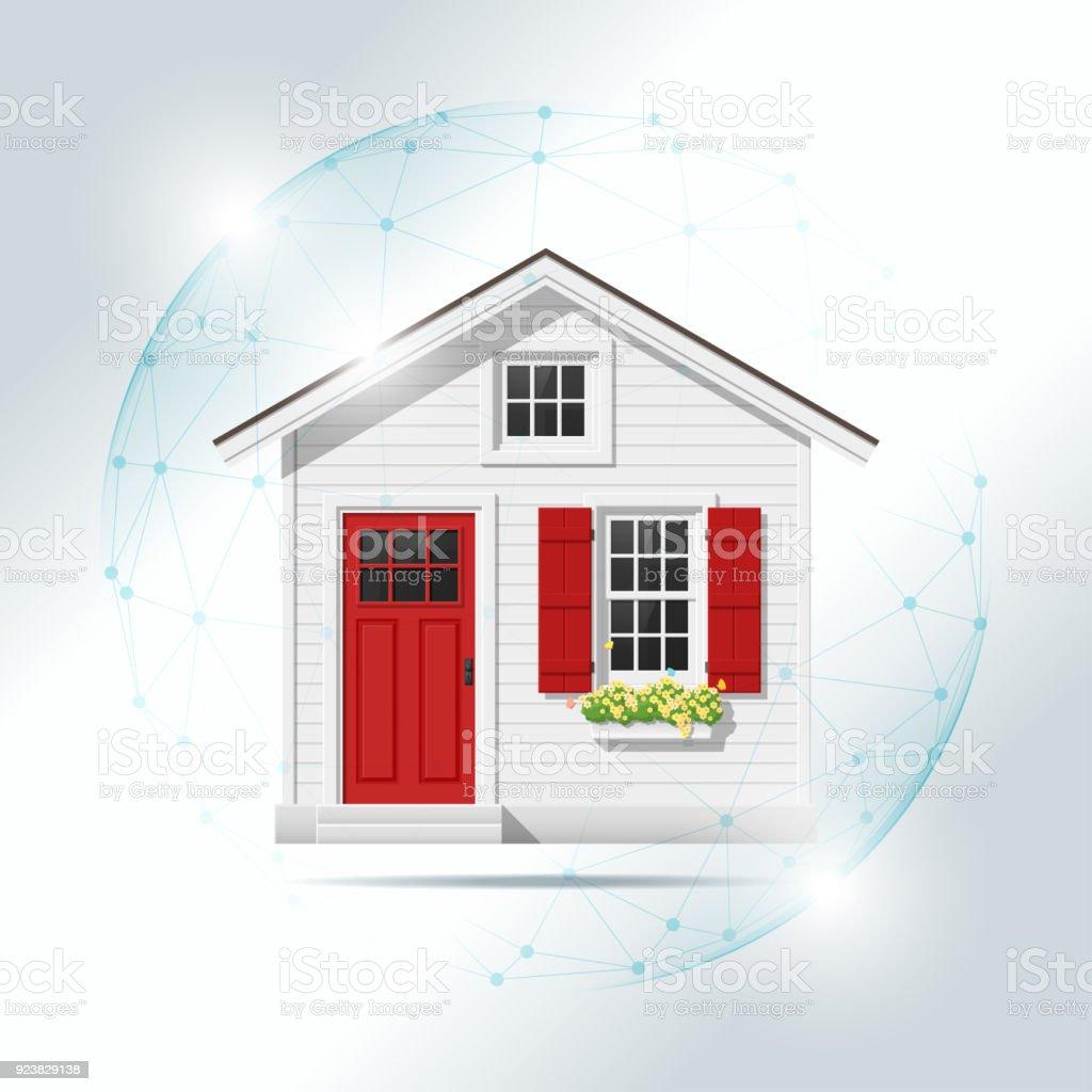 Awesome Eigenschaft Versicherungskonzept Mit Kleinen Haus Geschützt In Polygonaler  Bereich Schild, Vektor, Abbildung Lizenzfreies Eigenschaft