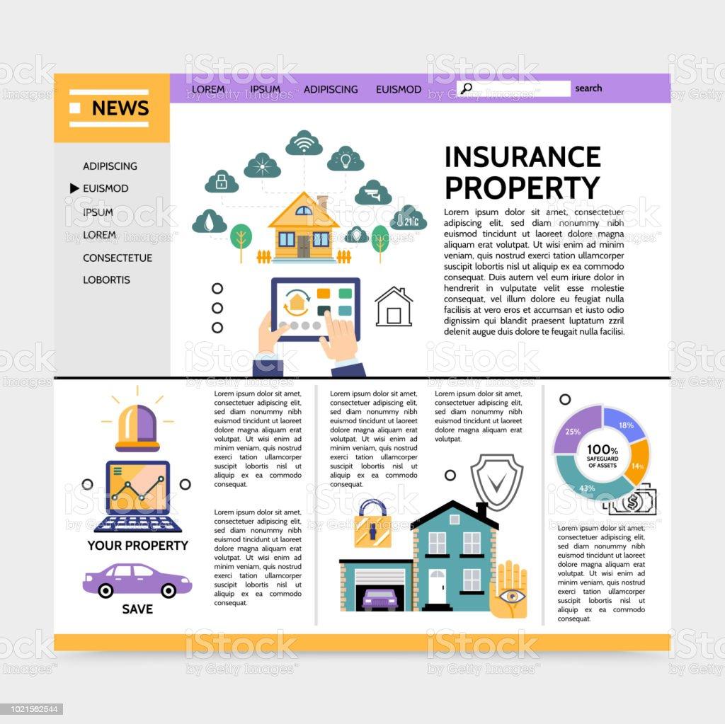 Service d'assurance propriété Landing Page Concept - Illustration vectorielle