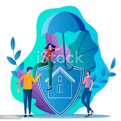 Property insurance.People stand near a shield with the insurance logo.Flat vector illustration in a modern style.