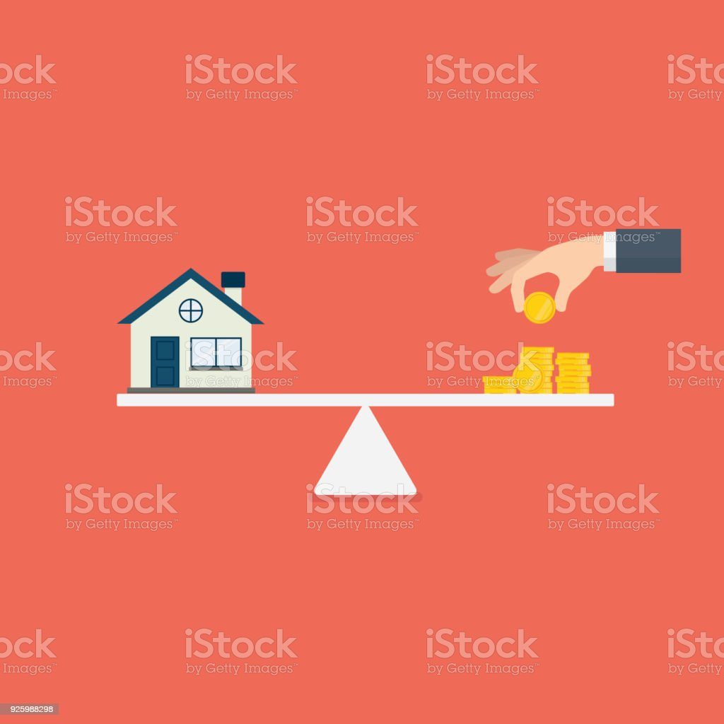Property investment illustration. Home and stack of money on the scale. Buying a home. Real estate vector art illustration