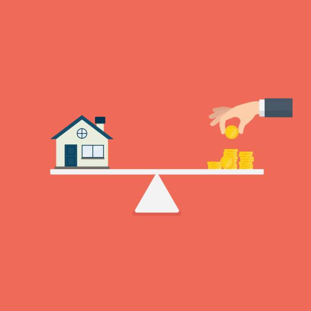 illustrazioni stock, clip art, cartoni animati e icone di tendenza di property investment illustration. home and stack of money on the scale. buying a home. real estate - real life