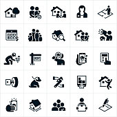 A set of property management icons. The icons include a property manager, house, renters, family, handshake, agreement, floor plan, rent, home inspection, approval, couple, marketing, bullhorn, advertising, repairs, maintenance, rent sign, home search, accounting, house key, dog, pet, moving truck, payment, square footage, tenant selection, lease agreement and contract to name just a few.