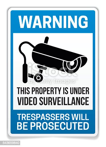 Property under video surveillance warning sign and gun silhouette. EPS 10 file. Transparency effects used on highlight elements.