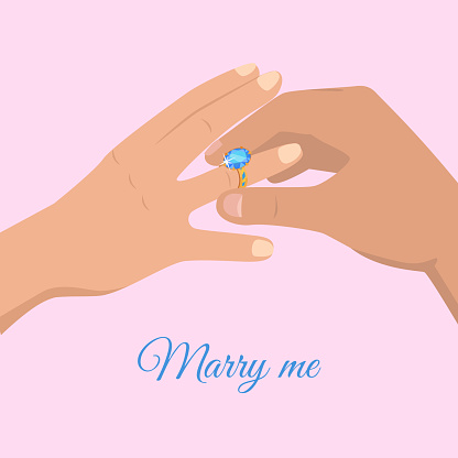Proposal from Young Man Marry Me Cartoon Drawing