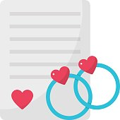 istock Proposal Letter with pair of engagement rings Concept, Lover Conversation on Paper Vector Color Icon design, Valentines Day Decor Postcard on white background, 1299397552