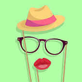 props for the photo: lips, glasses, hat. colored vector objects