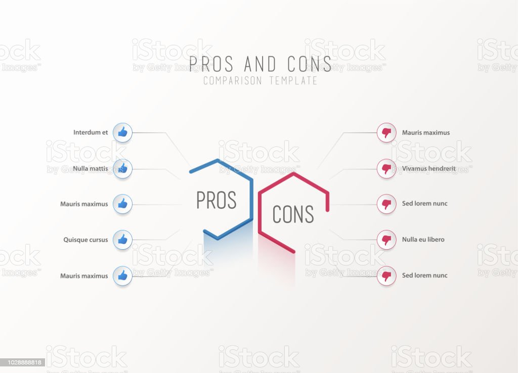 Pros and Cons comparison vector template. vector art illustration