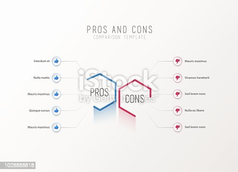 Pros And Cons Comparison Vector Template Stock Art More Images Of Analyzing 1028888818