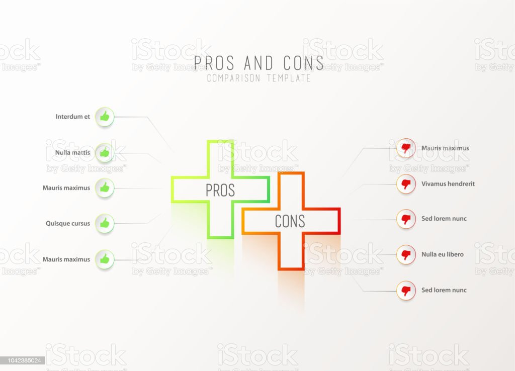 Pros And Cons Comparison Vector Template Royalty Free