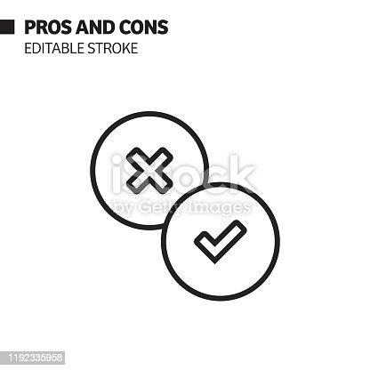 istock Pros and Cons Line Icon, Outline Vector Symbol Illustration. Pixel Perfect, Editable Stroke. 1192335958