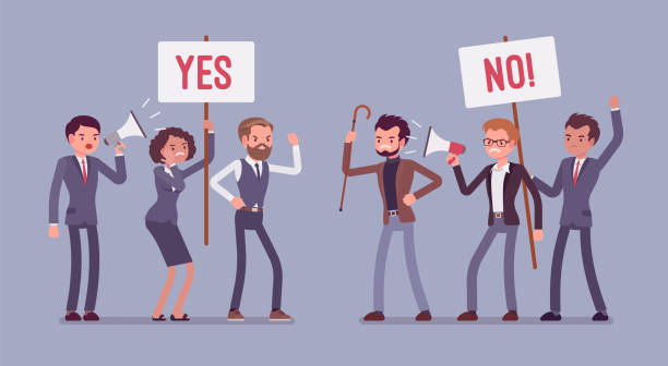 Pros and cons meeting Pros and cons. Active people at gathering to decide advantages and disadvantages, ideas for and against, positive and negative arguments, holding yes, no signs. Vector flat style cartoon illustration arguing stock illustrations