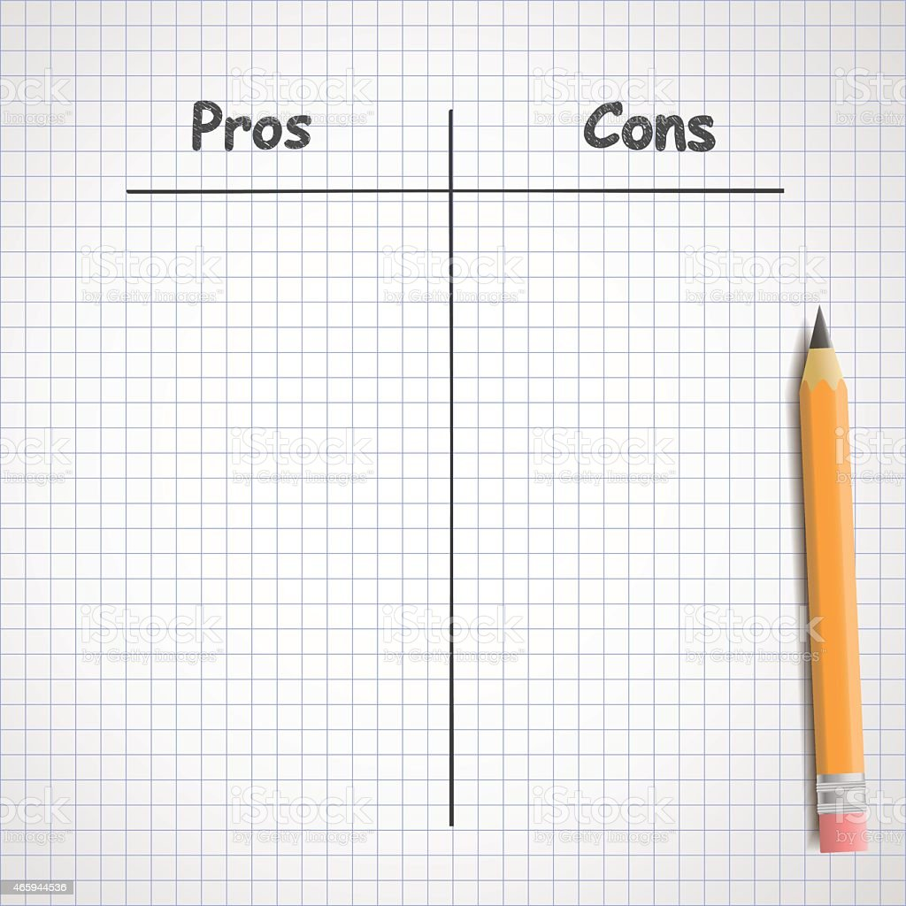 Pros and cons vector art illustration