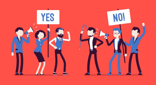 Pros and cons Pros and cons. Active people at gathering to decide advantages, disadvantages, ideas for and against, positive and negative arguments, holding yes, no signs. Vector illustration, faceless characters debate stock illustrations