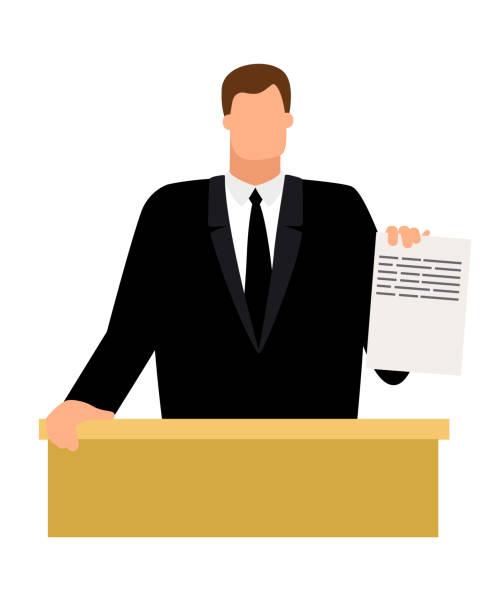 staatsanwalt mit dokument in der hand - kanzlerin stock-grafiken, -clipart, -cartoons und -symbole