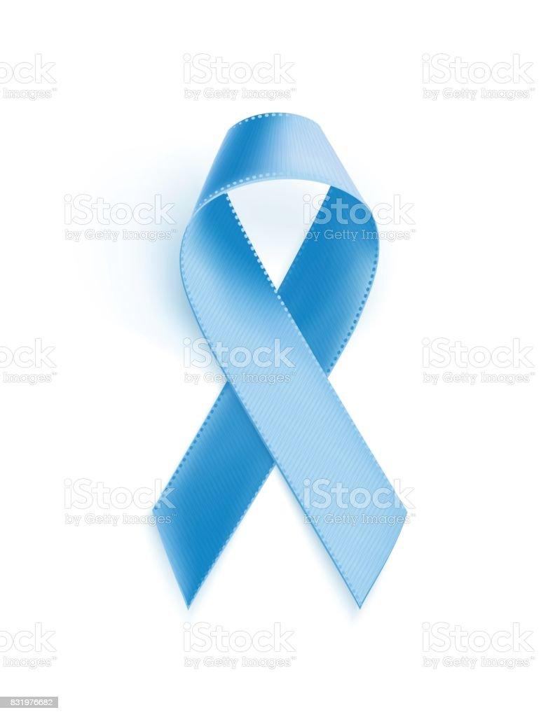 Prostate cancer awareness blue ribbon. vector art illustration