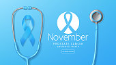 Prostate cancer awareness month banner. Vector illustration with satin ribbon and realistic stethoscope on light blue background. Men healthcare concept.