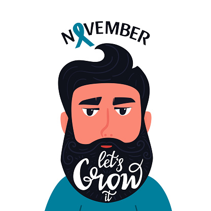 Prostate cancer awareness month. Bearded man with the inscription on the beard Let's Grow it