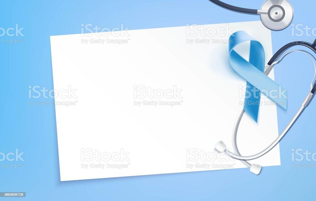 Prostate Cancer Awareness Symbol And Stethoscope On Blue Background