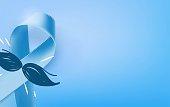 Prostate Cancer Blue Awareness Ribbon Background. Prostate cancer awareness symbol, isolated on blue background. Vector illustration