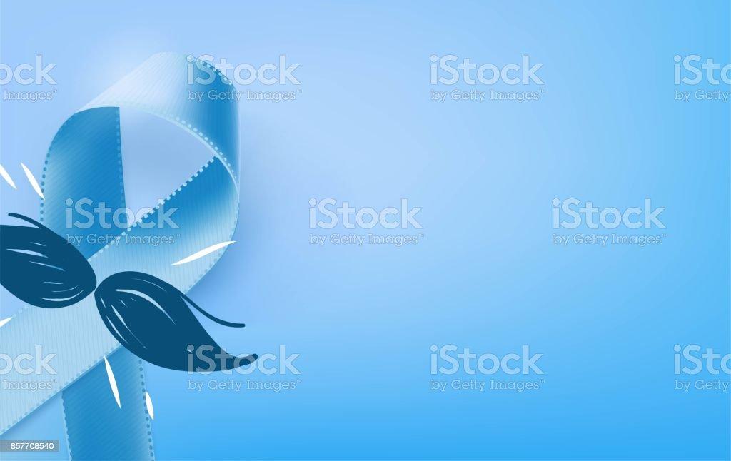 Prostate Cancer Blue Awareness Ribbon Background. vector art illustration
