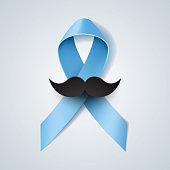 Prostate cancer ribbon awareness. Light blue ribbon with mustache. Vector illustration