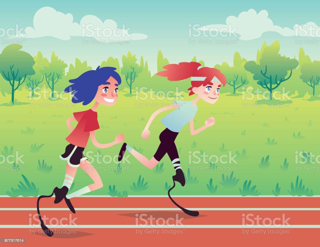 Prosthetic runners in the park. vector art illustration