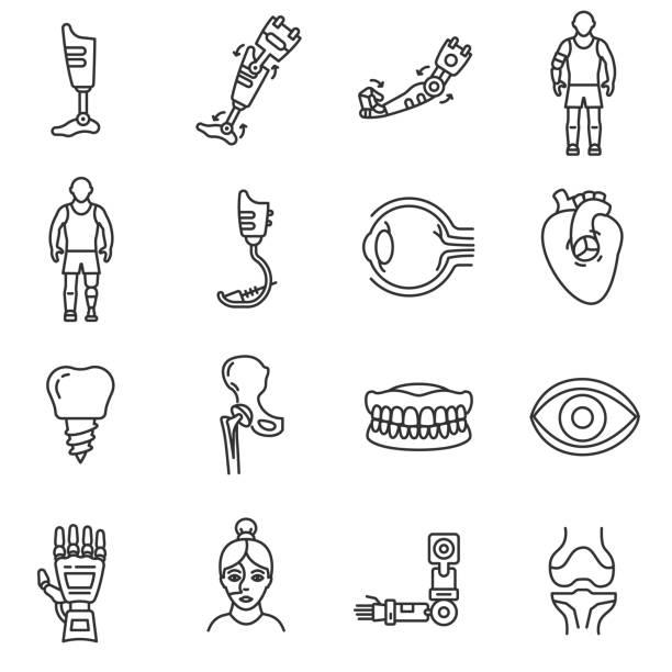 Prosthetics icons set. Editable stroke vector art illustration