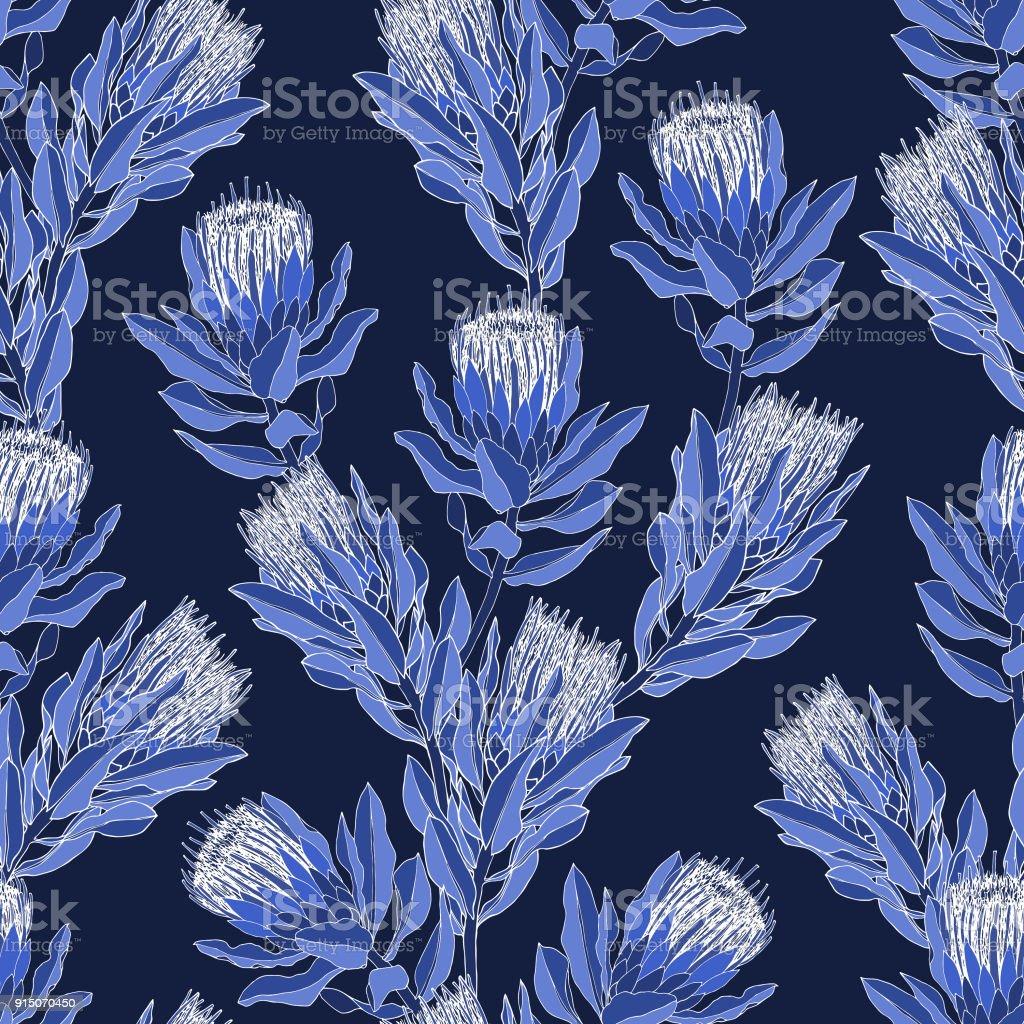 93f773f86322 Vetor de Protea padrão floral - azul e branco vetores de vetor de protea  padrão floral