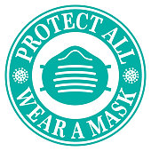 Vector illustration of round mask label with the words Protect All Wear A Mask on it.