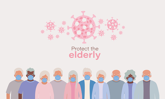 Protect elderly men and women with masks and 2019 ncov virus vector design