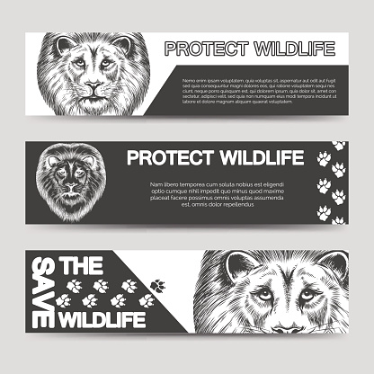 Protect nature banners with lion