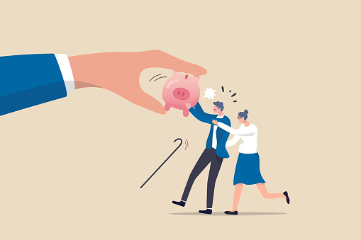 Protect retirement pension money from fraud, ponzi scheme or cost and tax that impact retiree investment fund concept, senior grandparent couple pull back their piggy bank money from thief hand.