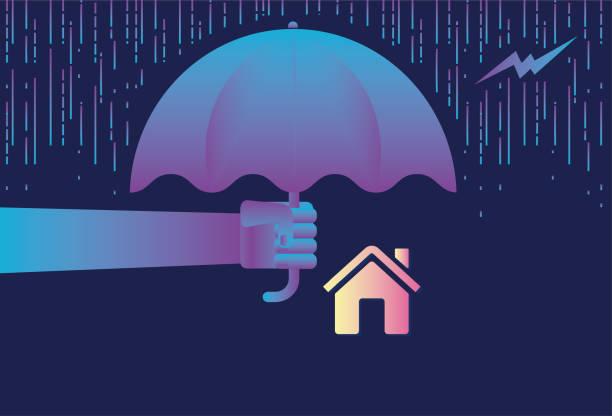 illustrazioni stock, clip art, cartoni animati e icone di tendenza di protect the house with an umbrella stock illustration - grandine vector
