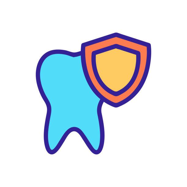stockillustraties, clipart, cartoons en iconen met bescherm de vector van het tandpictogram. geïsoleerde illustratie van het contoursymbool - streptococcus mutans