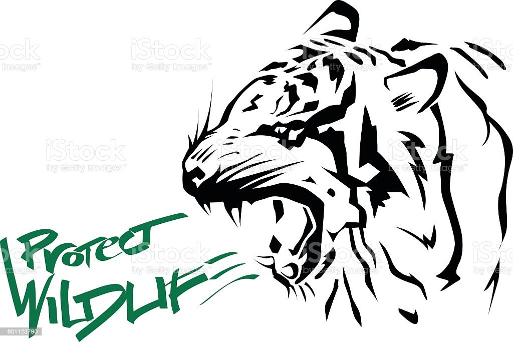Protect Wildlife poster. vector art illustration