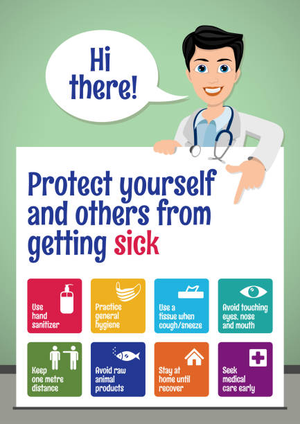 ilustrações de stock, clip art, desenhos animados e ícones de protect yourself and others from getting sick. coronavirus prevention poster for school children. basic protective measures against the new coronavirus. - covid hospital