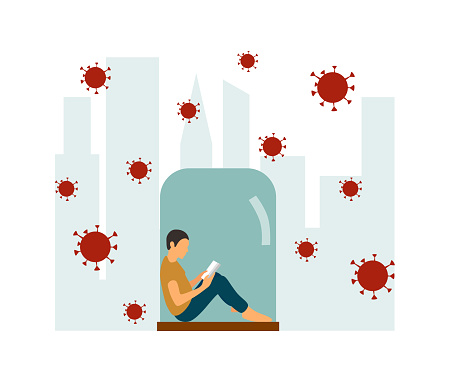 Protect Yourself. Boy keeping Distance for Decrease Infection Risk For Prevent Virus Covid-19. Coronavirus quarantine preventive measures. A boy sits in under a glass cap. Vector illustration