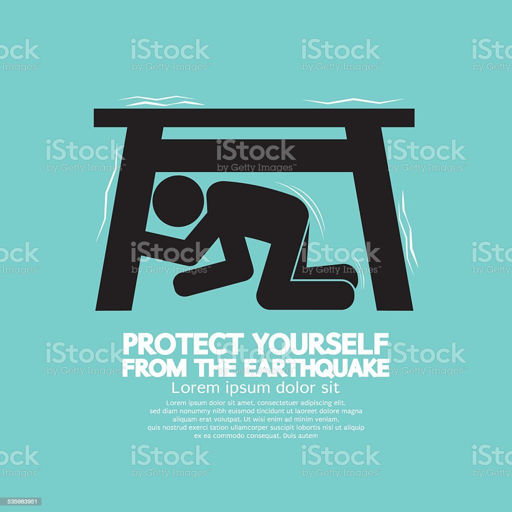 Protect Yourself From The Earthquake vector art illustration