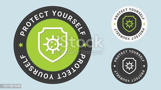 Protect yourself stamp vector illustration. Immune system concept. Hygienic medical shield protecting from coronavirus COVID-19. Vector combination for flat style certificate.