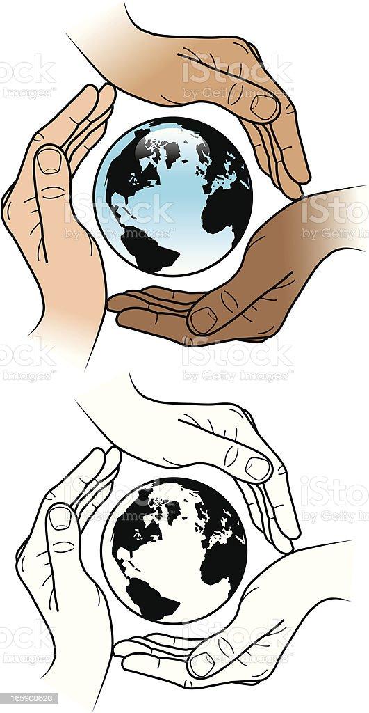 Protected globe vector art illustration