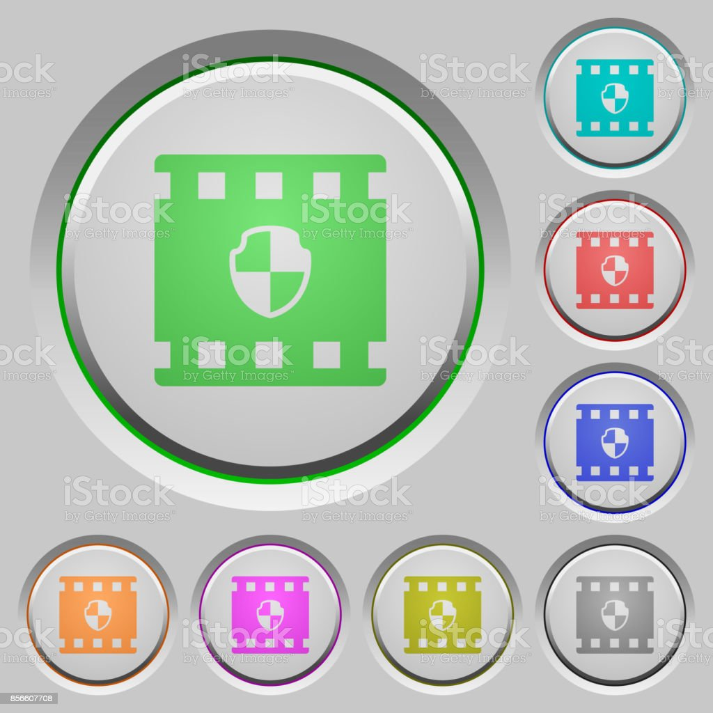 Protected movie push buttons vector art illustration