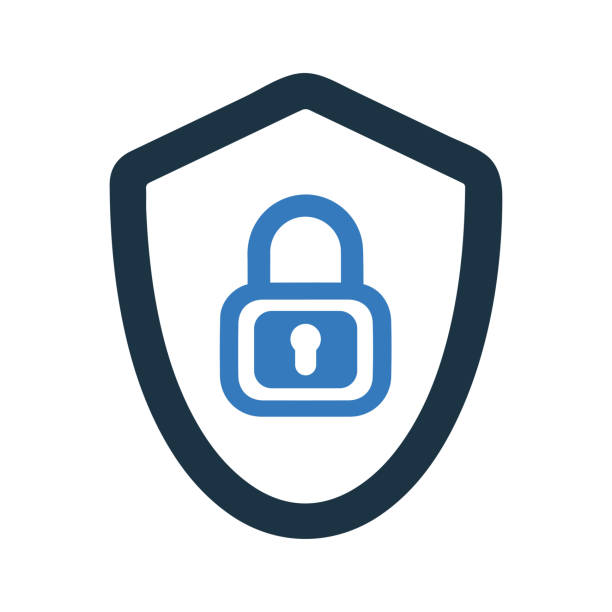 Protected, shield protection, security icon Well organized and fully editable Protected, shield protection, security icon for any use like print media, web, stock images, commercial use or any kind of design project. Hope this icon help you. Thanks for using it. blue symbols stock illustrations