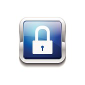 Protected Square Blue Vector Web Button Icon
