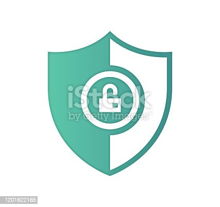 Protecting against cyberattacks design with gradient fill painted by path of the icon. Papercut style graphic can also be used as simple vector template for silhouette illustrations.