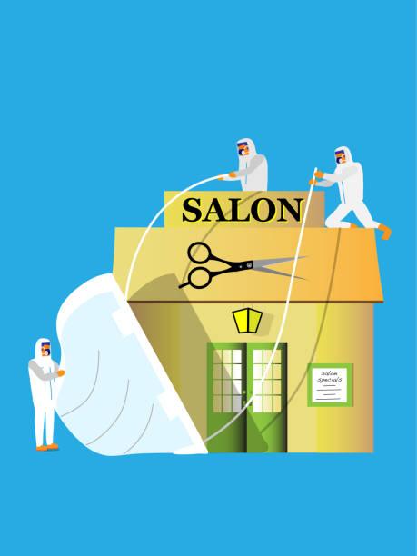 schutz des friseursalons - friseur lockdown stock-grafiken, -clipart, -cartoons und -symbole