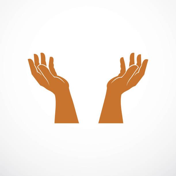 illustrazioni stock, clip art, cartoni animati e icone di tendenza di protecting hands of care, tender and defending human hands vector design, with copy space inside for your element or text. - portare